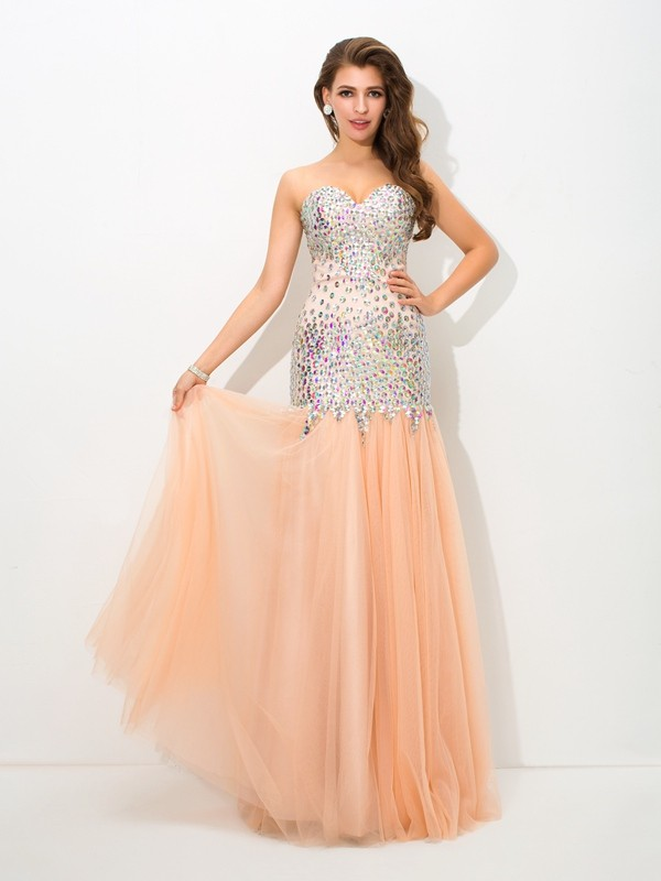 Yours Truly Mermaid Style Sweetheart Beading Long Net Dresses