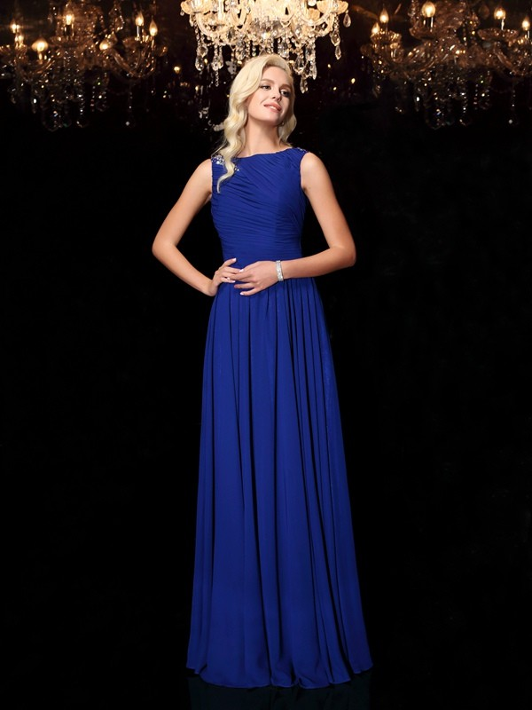Touch of Texture Princess Style Bateau Rhinestone Long Chiffon Dresses