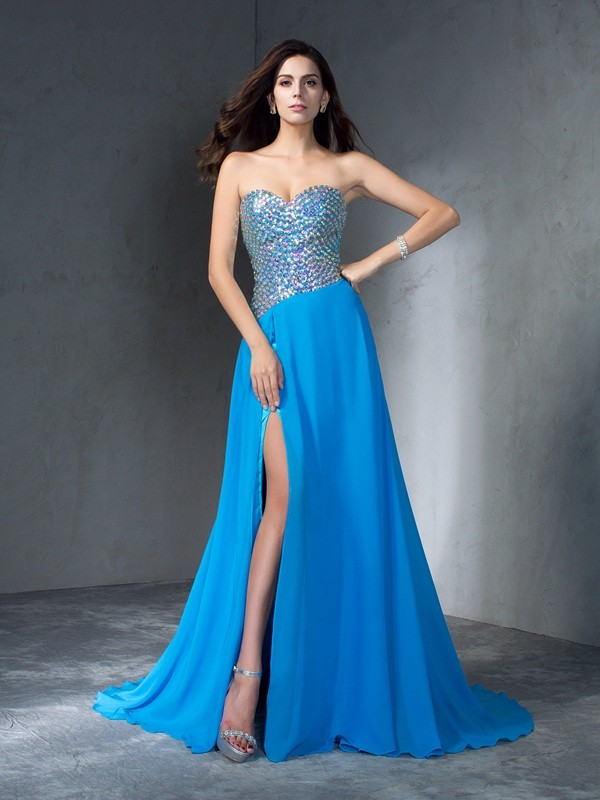 Embracing Grace Princess Style Sweetheart Sequin Long Chiffon Dresses
