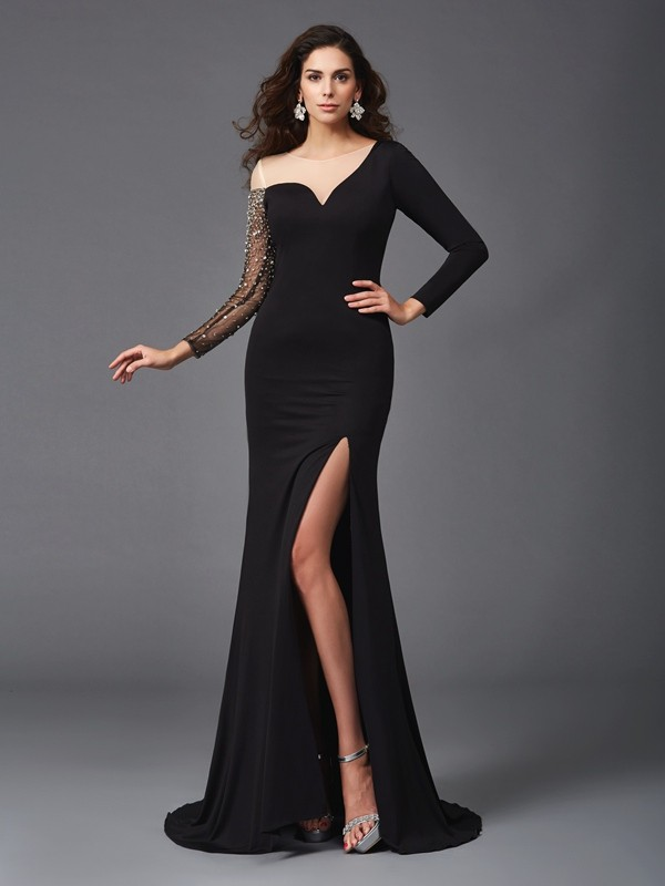 Modern Mood Sheath Style Scoop Beading Long Spandex Dresses