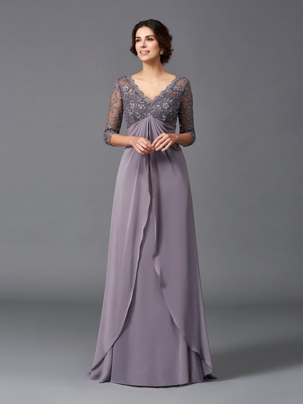 Too Much Fun Princess Style V-neck Lace Long Chiffon Mother of the Bride Dresses