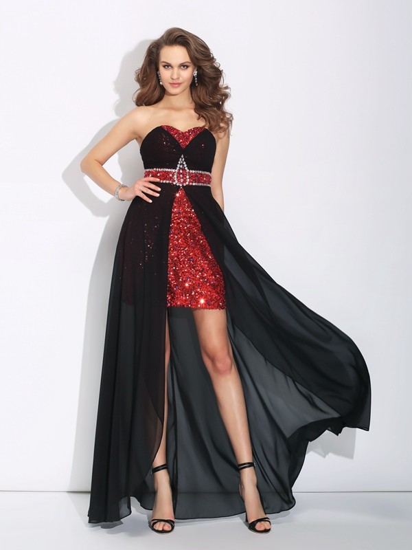 Glitz the Spot Princess Style Sweetheart Sequin High Low Chiffon Dresses