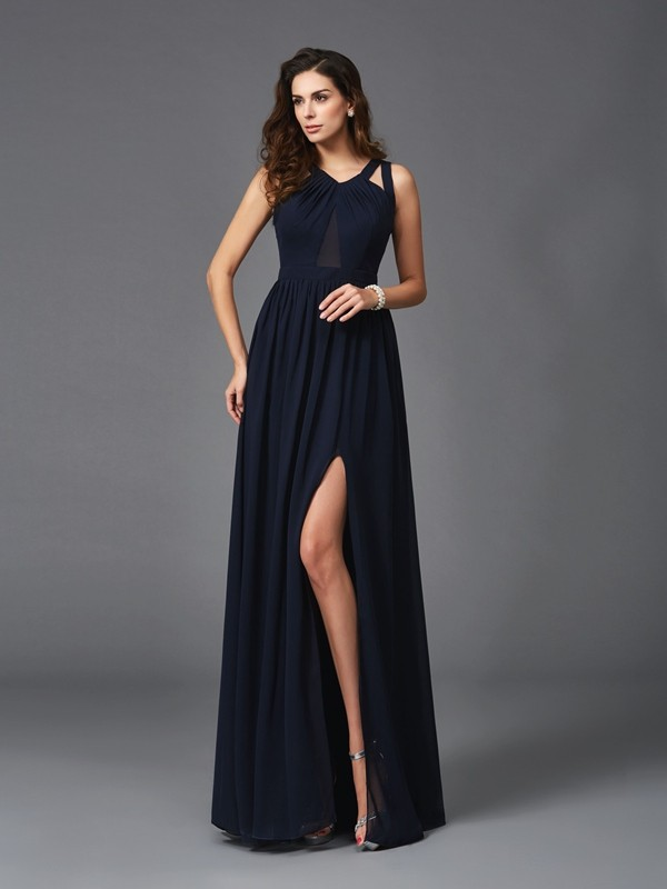 Comfortably Chic Princess Style Straps Long Chiffon Dresses