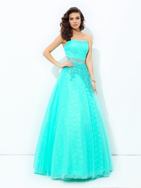Efflorescent Dreams Princess Style Strapless Beading Long Elastic Woven Satin Dresses