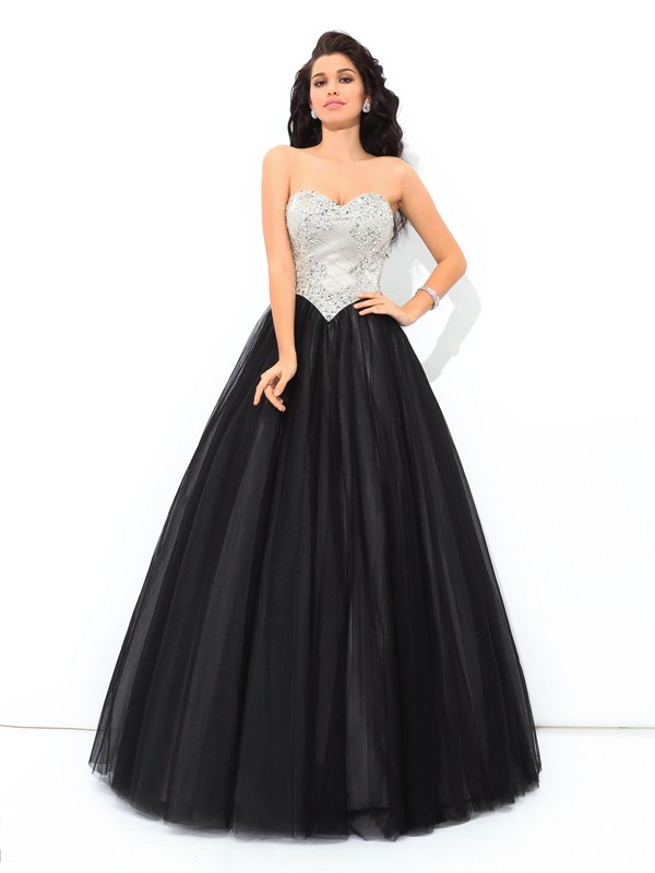 Cordially Delighted Ball Gown Sweetheart Paillette Long Net Quinceanera Dresses