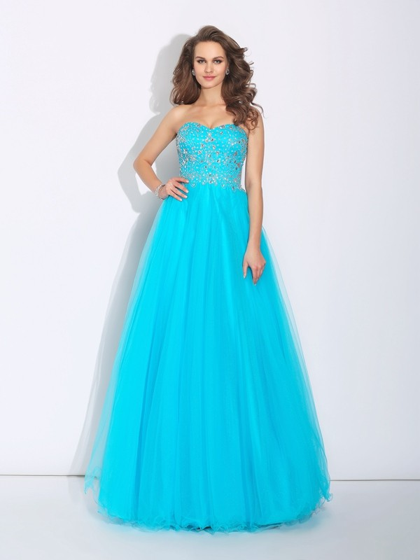 Festive Self Princess Style Sweetheart Rhinestone Long Satin Dresses