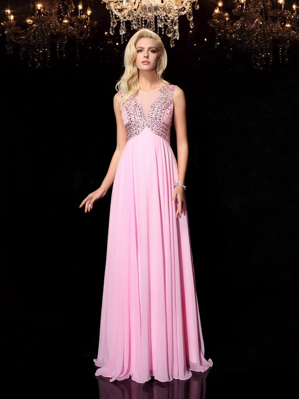 Defined Shine Princess Style Scoop Beading Long Chiffon Dresses
