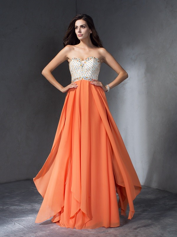 Easily Adored Princess Style Beading Sweetheart Long Chiffon Dresses