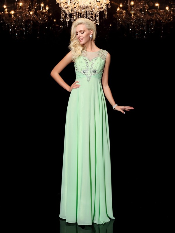 Embracing Grace Princess Style Scoop Beading Long Chiffon Dresses