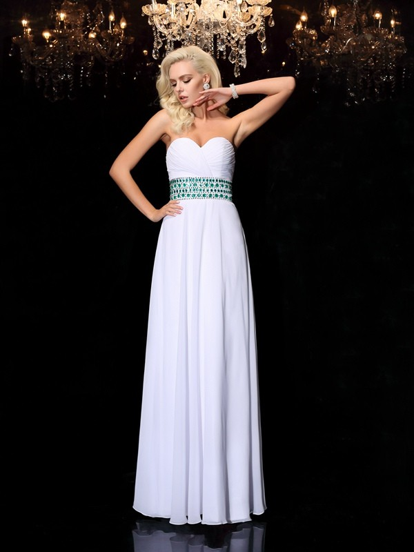Befits Your Brilliance Princess Style Sweetheart Rhinestone Long Chiffon Dresses