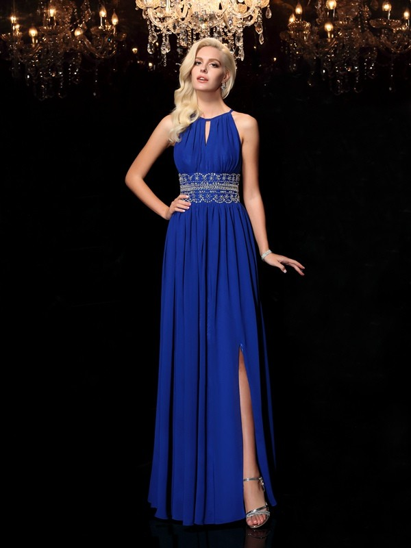 Pleasant Emphasis Princess Style Jewel Beading Long Chiffon Dresses