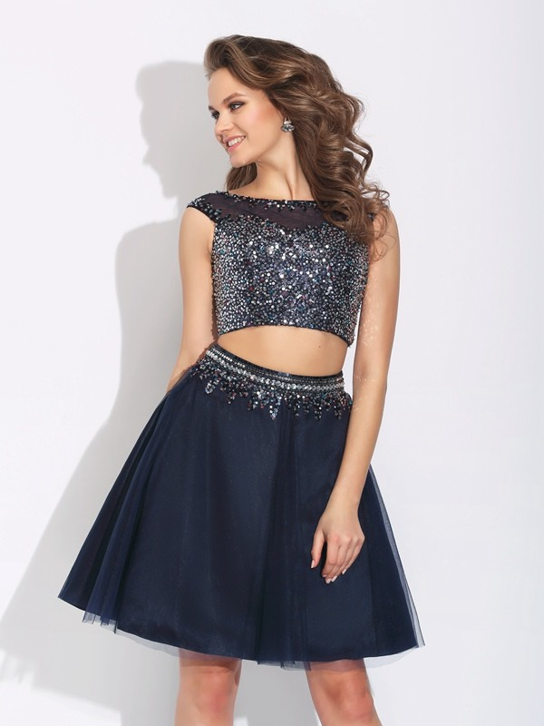 Styled to Smile Princess Style Bateau Beading Short Net Two Piece Dresses