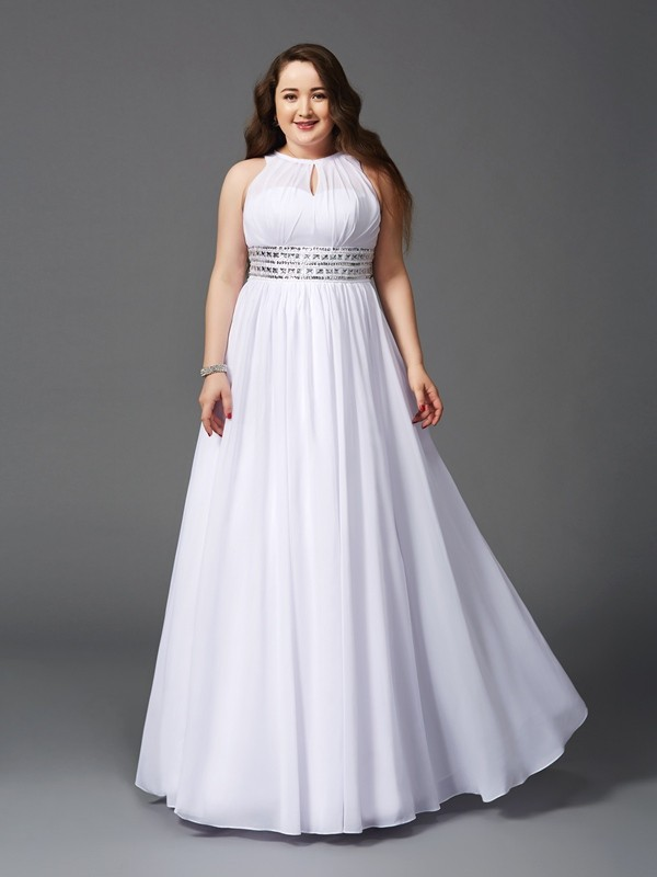 Dancing Queen Princess Style Jewel Beading Long Chiffon Plus Size Dresses