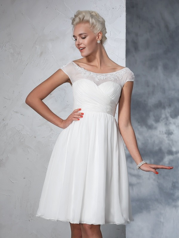 Easily Adored Princess Style Sheer Neck Ruched Short Chiffon Wedding Dresses