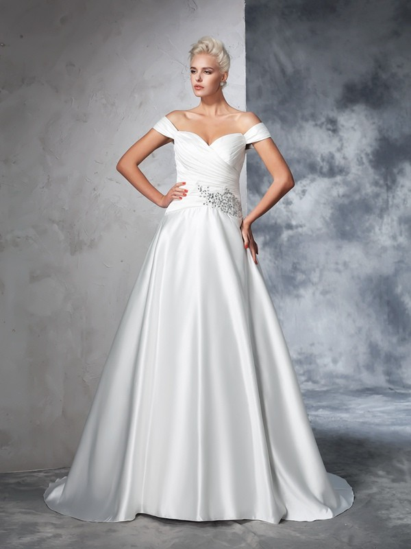 Comfortably Chic Ball Gown Off-the-Shoulder Ruched Long Taffeta Wedding Dresses