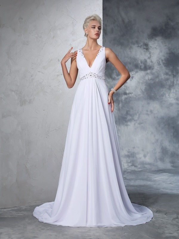Creative Courage Princess Style V-neck Beading Long Chiffon Wedding Dresses