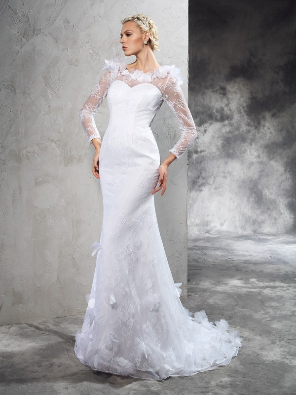 Automatic Classic Sheath Style Sheer Neck Hand-Made Flower Long Satin Wedding Dresses