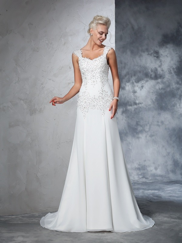 Cordially Delighted Princess Style Straps Beading Long Chiffon Wedding Dresses