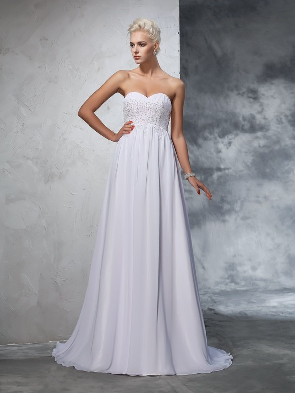 Pleased to be Me Princess Style Sweetheart Beading Long Chiffon Wedding Dresses