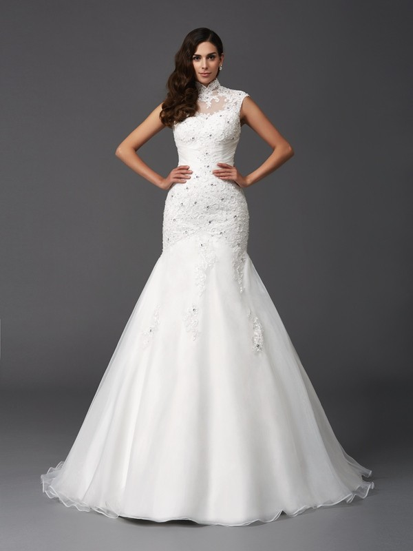 Fabulous Fit Mermaid Style High Neck Beading Long Organza Wedding Dresses