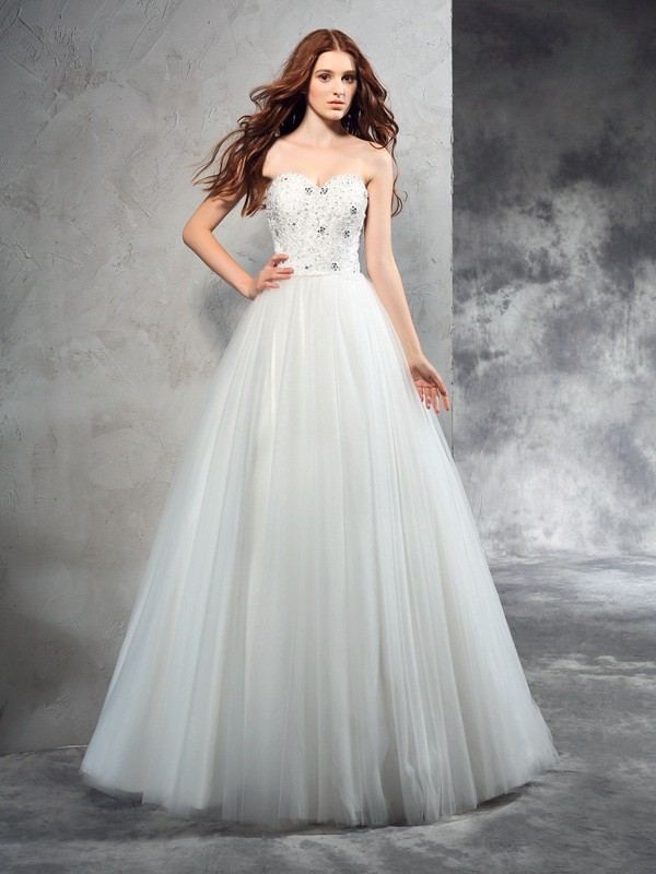 Too Much Fun Princess Style Sweetheart Beading Long Net Wedding Dresses