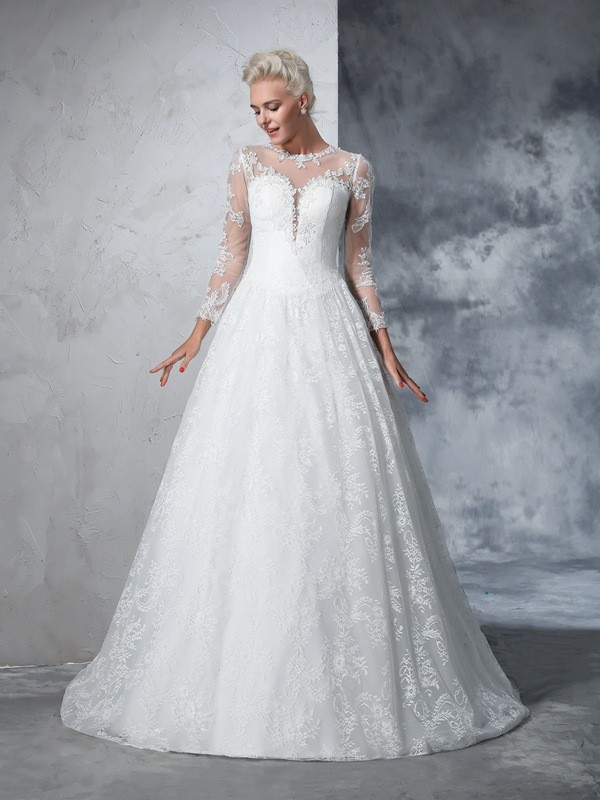 Vibrant Stylist Ball Gown Jewel Lace Long Lace Wedding Dresses