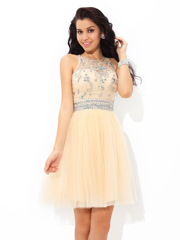 Defined Shine Princess Style Sheer Neck Beading Short Net Cocktail Dresses