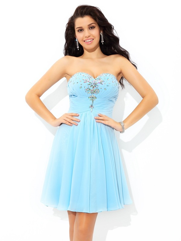Touch of Texture Princess Style Sweetheart Beading Short Chiffon Cocktail Dresses