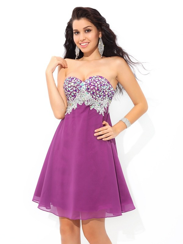 Easily Adored Princess Style Sweetheart Rhinestone Short Chiffon Cocktail Dresses