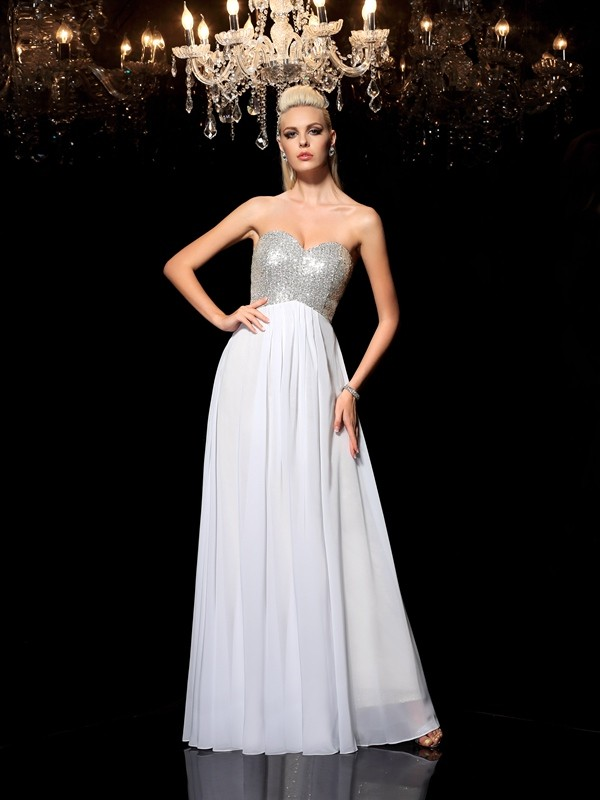 Absolute Lovely Princess Style Sweetheart Sequin Long Chiffon Dresses