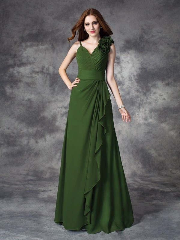 Pleasant Emphasis Princess Style V-neck Hand-Made Flower Long Chiffon Bridesmaid Dresses