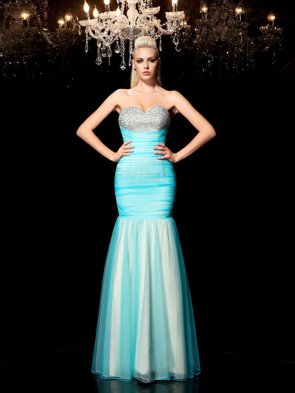 Comfortably Chic Sheath Style Sweetheart Sequin Long Net Dresses