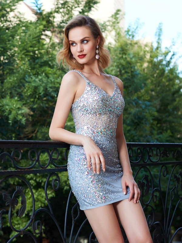 Dashing Darling Sheath Style Spaghetti Straps Net Sequin Short/Mini Dresses