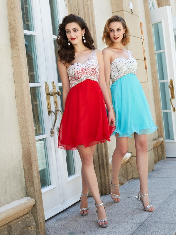 Touch of Texture Princess Style Chiffon One-Shoulder Beading Short/Mini Dresses