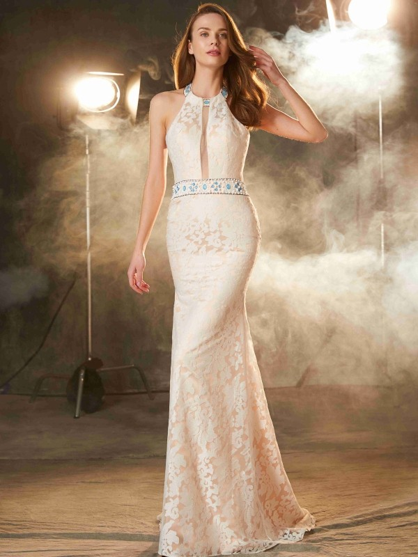 Absolute Lovely Sheath Style Halter Floor-Length Lace Satin Dresses