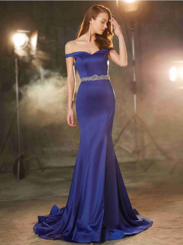 Aesthetic Honesty Mermaid Style Off-the-Shoulder Crystal Sweep/Brush Train Satin Dresses
