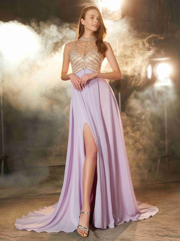 Limitless Looks Princess Style High Neck Sweep/Brush Train Crystal Chiffon Dresses