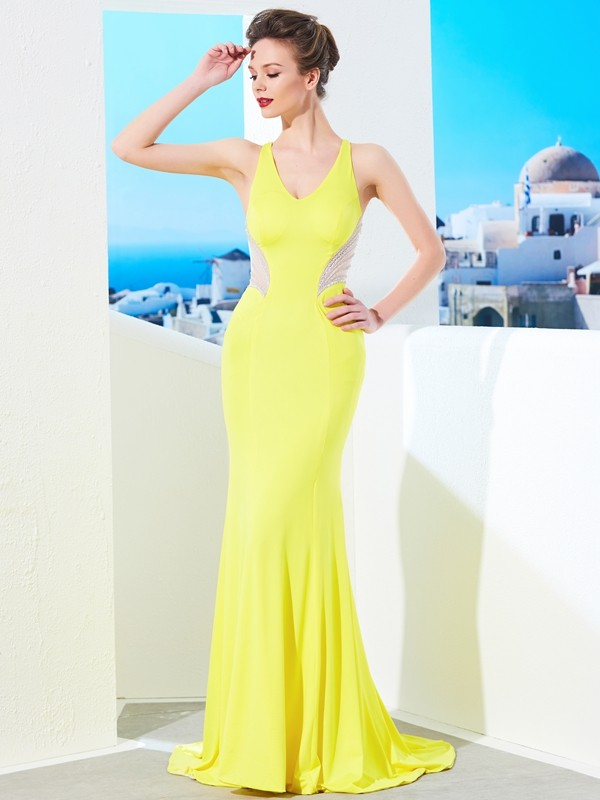 Dashing Darling Mermaid Style V-neck Sweep/Brush Train Beading Spandex Dresses