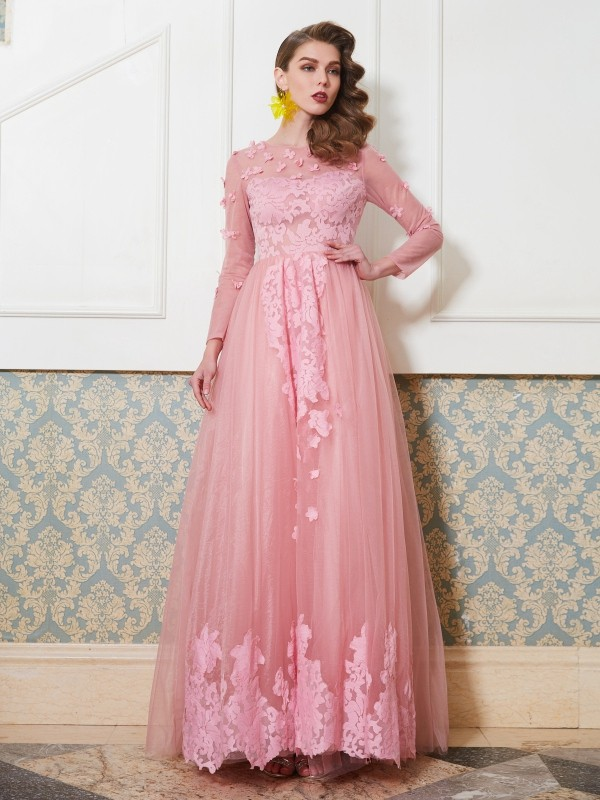 Easily Adored Princess Style Scoop Floor-Length Applique Tulle Dresses