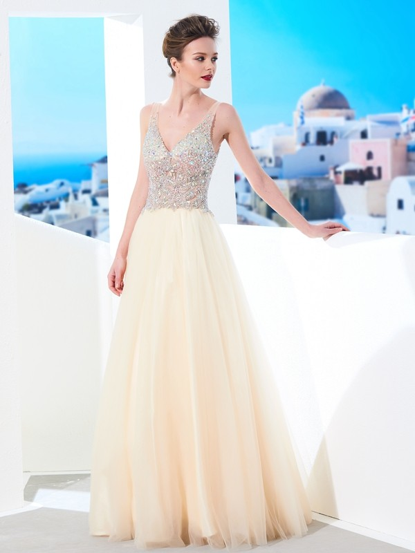 Savor the Occasion Ball Gown V-neck Beading Floor-length Tulle Dresses