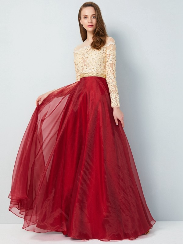 Dashing Darling Princess Style Sheer Neck Floor-Length Applique Organza Dresses