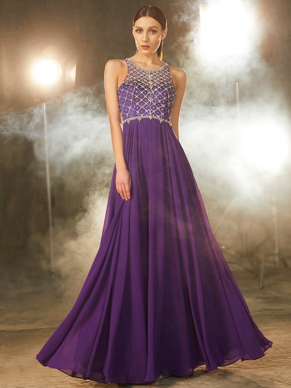 Modern Mood Princess Style Chiffon Scoop Crystal Floor-Length Dresses