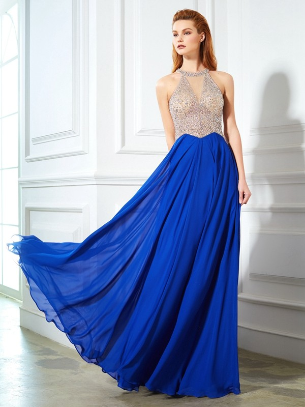 Pleasant Emphasis Princess Style Scoop Floor-Length Crystal Chiffon Dresses