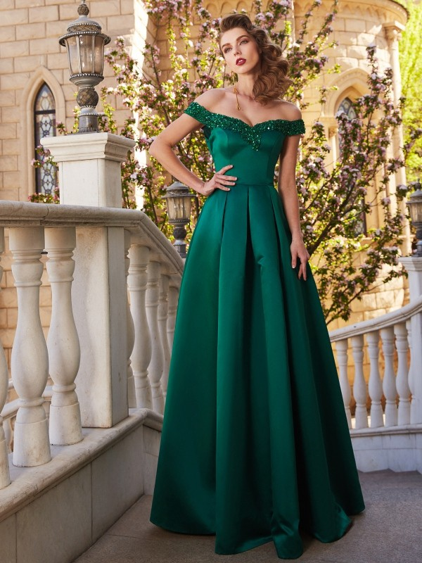 Comfortably Chic Princess Style Off-the-Shoulder Sequin Satin Floor-Length Dresses
