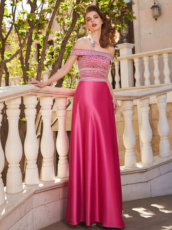 Festive Self Princess Style Off-the-Shoulder Beading Satin Floor-Length Two Piece Dresses