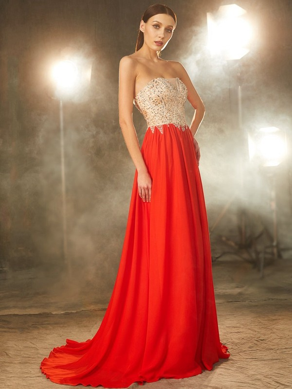 Pleased to be Me Princess Style Strapless Beading Chiffon Sweep/Brush Train Dresses