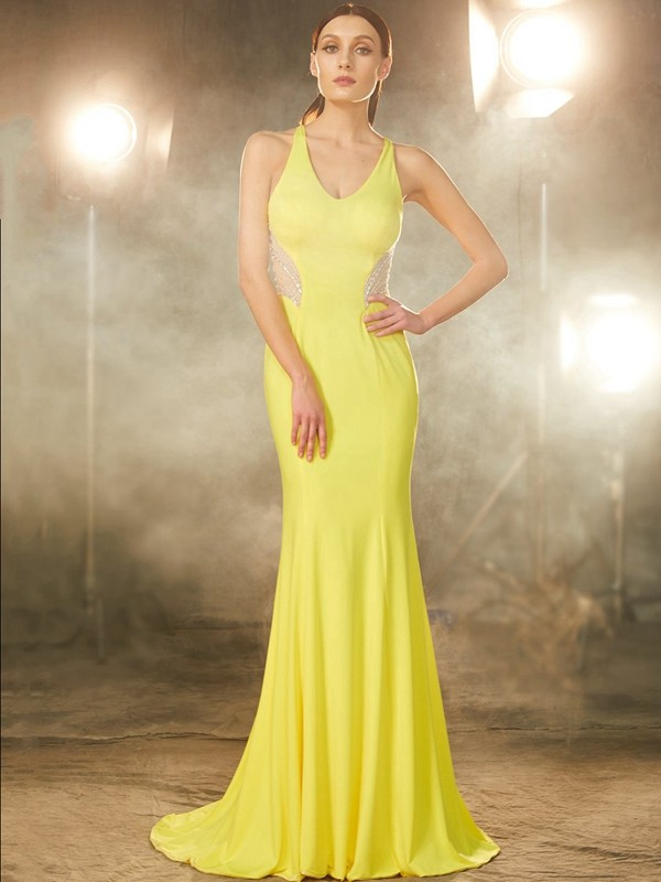 Confident Option Mermaid Style V-neck Sweep/Brush Train Beading Spandex Dresses