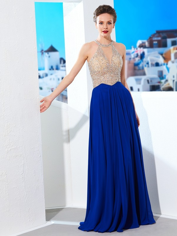 Limitless Looks Princess Style Scoop Floor-Length Crystal Chiffon Dresses