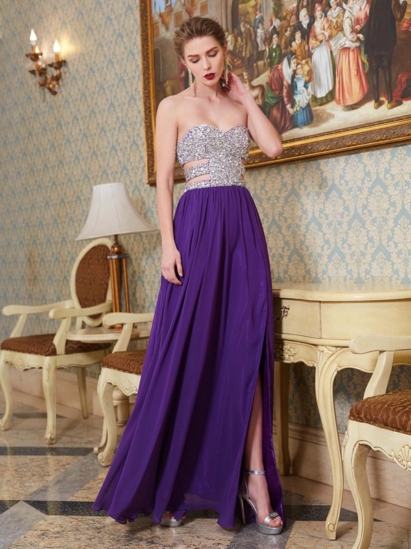 Just My Style Princess Style Sweetheart Crystal Floor-Length Chiffon Dresses