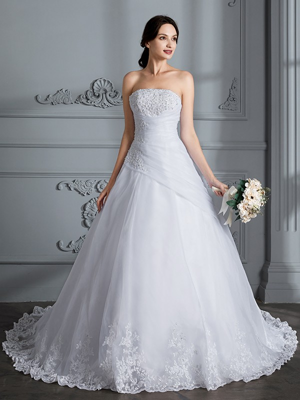 Chic Chic London Ball Gown Strapless Court Train Organza Wedding Dresses